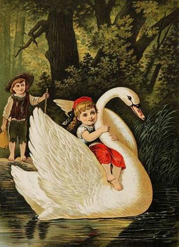 Das Entchen brachte Hänsel und Gretel zum anderen Ufer