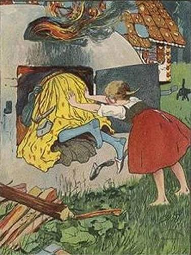 Gretel schubste die Hexe in den Backofen