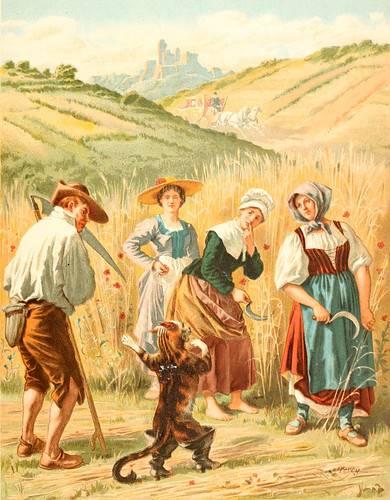 Die Leute im Kornfeld fürchteten sich vor dem Kater, weil er mit seinen Stiefeln so wunderlich aussah.